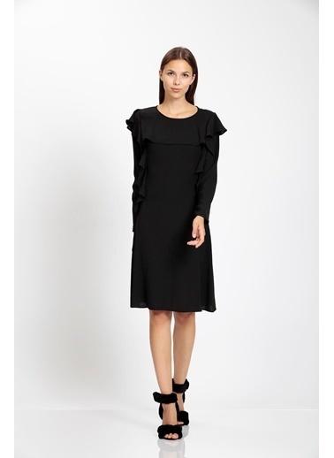 Vitrin Volan Detaylı Çan Elbise Siyah